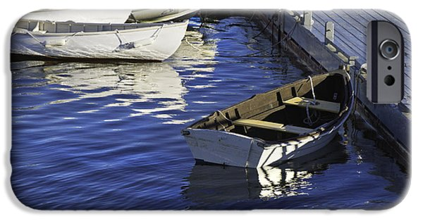 Maine Seascapes iPhone Cases - Rowboats Docked on The Coast Of Maine iPhone Case by Keith Webber Jr