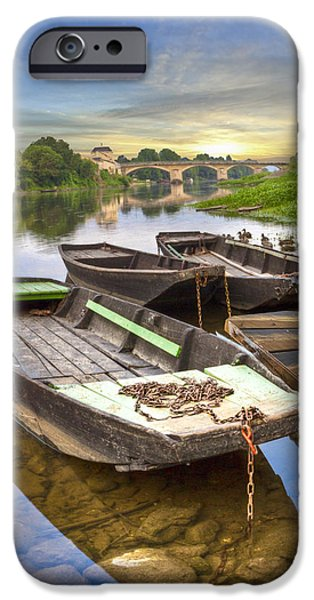 Rowboats on the French Canals iPhone Case by Debra and Dave Vanderlaan