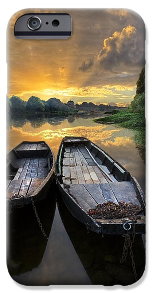 Rowboats on the River iPhone Case by Debra and Dave Vanderlaan