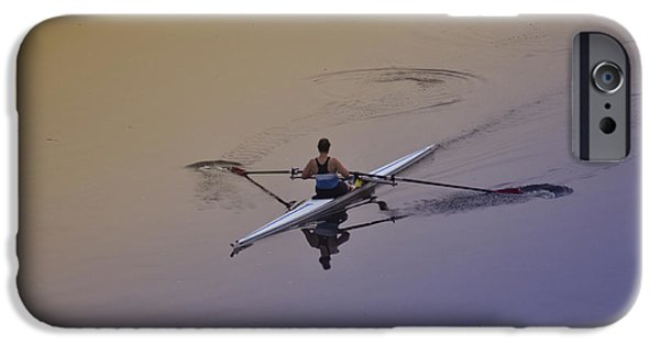 Canoe Digital iPhone Cases - Rower iPhone Case by Bill Cannon