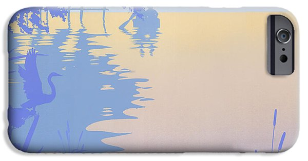 Abstract Seascape iPhone Cases - Rowing Back To The Boat Dock At Sunset Abstract iPhone Case by Walt Curlee