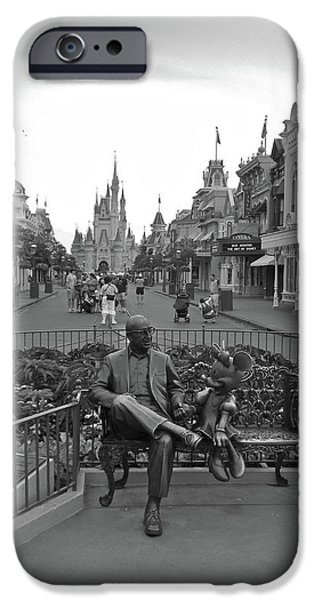 Casey Digital iPhone Cases - Roy and Minnie Mouse Black and White Magic Kingdom Walt Disney World iPhone Case by Thomas Woolworth