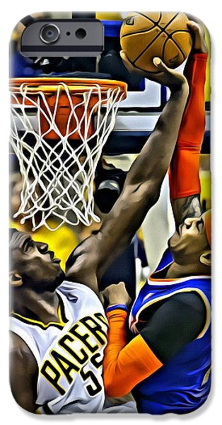 Slam Photographs iPhone Cases - Roy Hibbert vs Carmelo Anthony iPhone Case by Florian Rodarte