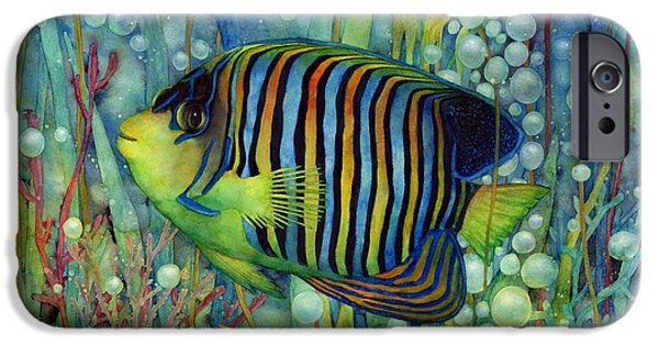 Angel Blues iPhone Cases - Royal Angelfish iPhone Case by Hailey E Herrera