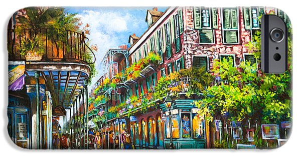 French Quarter Paintings iPhone Cases - Royal at Pere Antoine Alley iPhone Case by Dianne Parks