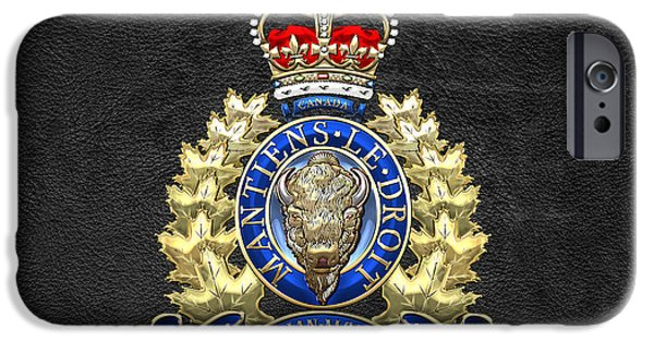 Law Enforcement Art iPhone Cases - Royal Canadian Mounted Police - RCMP Badge on Black Leather iPhone Case by Serge Averbukh