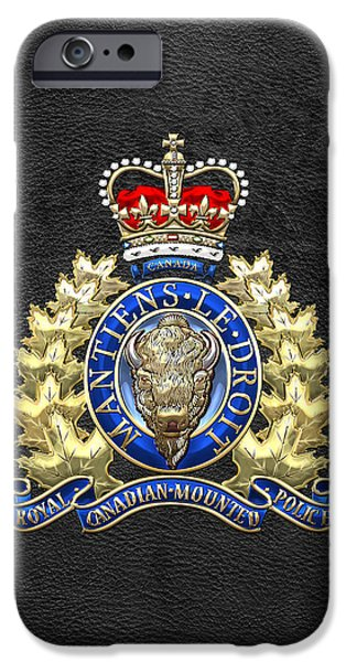 Police Art iPhone Cases - Royal Canadian Mounted Police - RCMP Badge on Black Leather iPhone Case by Serge Averbukh