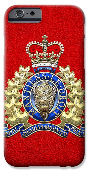Police Art iPhone Cases - Royal Canadian Mounted Police - RCMP Badge on Red Leather iPhone Case by Serge Averbukh