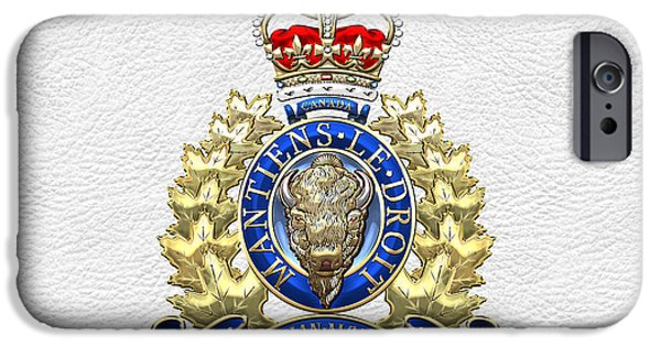 Law Enforcement Art iPhone Cases - Royal Canadian Mounted Police - RCMP Badge on White Leather iPhone Case by Serge Averbukh
