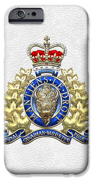 Police Art iPhone Cases - Royal Canadian Mounted Police - RCMP Badge on White Leather iPhone Case by Serge Averbukh
