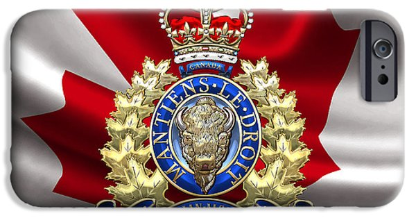 Law Enforcement Art iPhone Cases - Royal Canadian Mounted Police - RCMP Badge over Waving Flag iPhone Case by Serge Averbukh