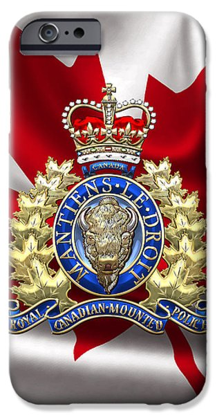Police iPhone Cases - Royal Canadian Mounted Police - RCMP Badge over Waving Flag iPhone Case by Serge Averbukh