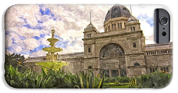 Nineteenth Digital iPhone Cases - Royal Exhibition Building and Carlton Gardens Hochgurtel Fountai iPhone Case by Beverly Claire Kaiya