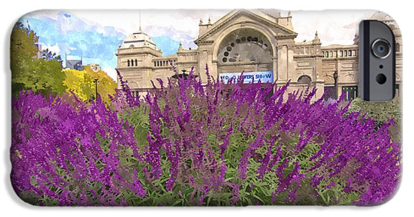 Nineteenth Digital iPhone Cases - Royal Exhibition Building and Salvia Maynight Purple Flowers iPhone Case by Beverly Claire Kaiya