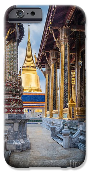 Buddhism iPhone Cases - Royal Grand Palace columns iPhone Case by Inge Johnsson