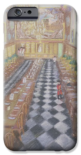Dining Hall iPhone Cases - Royal Hospital Chelsea, 1996 Pastel On Paper iPhone Case by Sophia Elliot