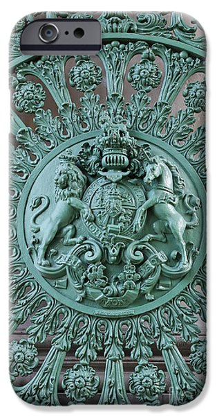 Constitution iPhone Cases - Royal lion and unicorn coat of arms on the gate of the Wellington Arch at Hyde Park Corner London iPhone Case by Robert Preston
