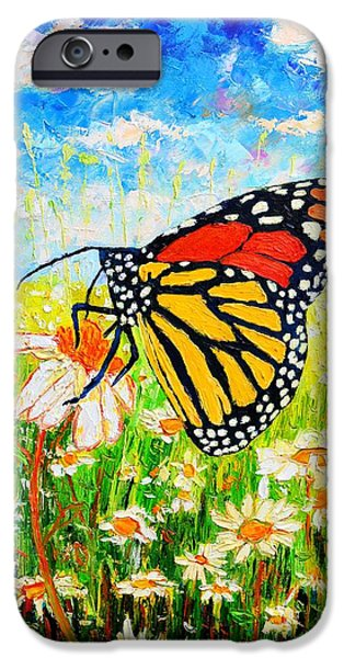 Flight iPhone Cases - Royal Monarch Butterfly In Daisies iPhone Case by Ana Maria Edulescu