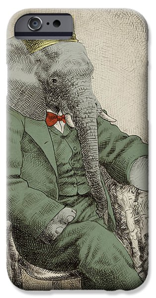 Elephants iPhone Cases - Royal Portrait iPhone Case by Eric Fan