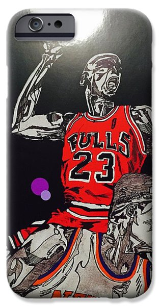 Nike Drawings iPhone Cases - Royal Skies Flyer iPhone Case by Nelson Vargas