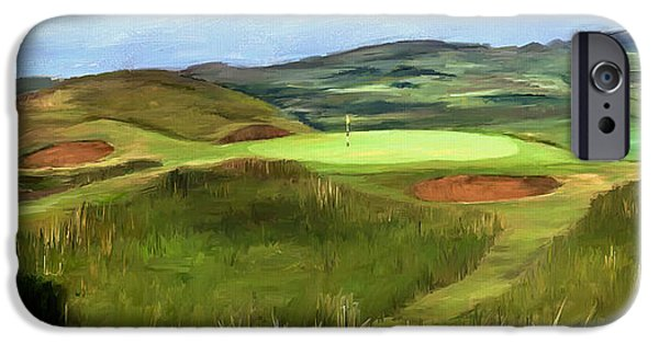 Scott Melby iPhone Cases - Royal Troon - Hole 8 - Postage Stamp iPhone Case by Scott Melby