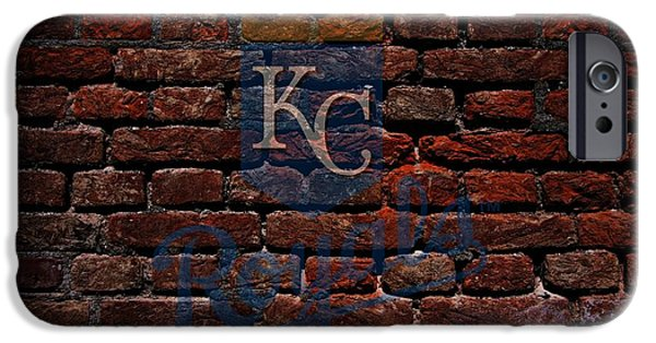 Shortstop iPhone Cases - Royals Baseball Graffiti on Brick  iPhone Case by Movie Poster Prints