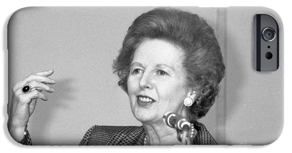 Baroness iPhone Cases - Rt.Hon. Margaret Thatcher iPhone Case by David Fowler