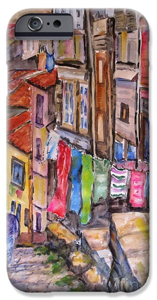 Laundry Paintings iPhone Cases - Rua Conticeira Brazil  iPhone Case by Mohamed Hirji