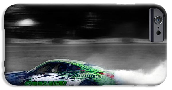 Racetrack Digital Art iPhone Cases - Rubber Burns iPhone Case by Steven  Digman