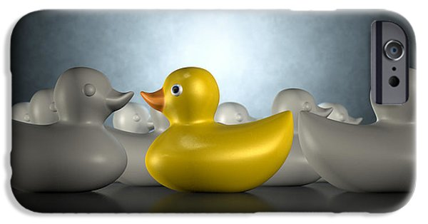 Innovative iPhone Cases - Rubber Duck Against The Flow iPhone Case by Allan Swart