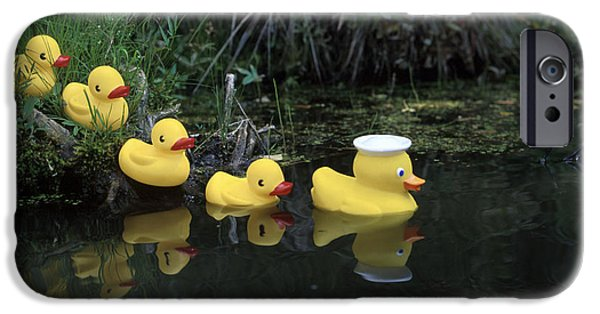 Innocence iPhone Cases - Rubber Ducks In A Row Pond Southcentral iPhone Case by Jeff Schultz