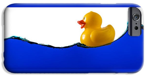 Child iPhone Cases - Rubber Ducky Rides A Wave iPhone Case by Steve Gadomski
