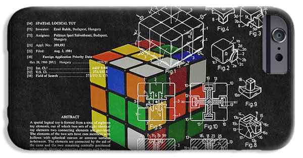 Rubiks Cube iPhone Cases - Rubiks Cube Patent 3 iPhone Case by Andrew Fare