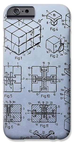 Rubiks Cube iPhone Cases - Rubiks Cube Patent iPhone Case by Dan Sproul