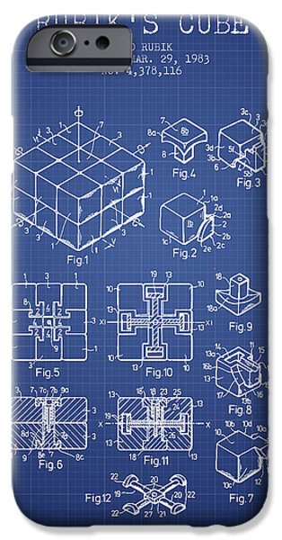 Rubiks Cube iPhone Cases - Rubiks Cube Patent from 1983 - Blueprint iPhone Case by Aged Pixel