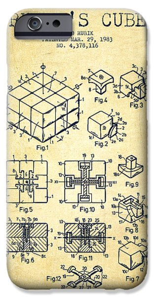 Rubiks Cube iPhone Cases - Rubiks Cube Patent from 1983 - Vintage iPhone Case by Aged Pixel