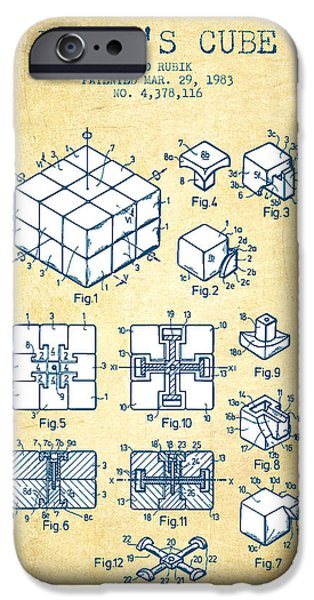 Rubiks Cube iPhone Cases - Rubiks Cube Patent from 1983 - Vintage Paper iPhone Case by Aged Pixel