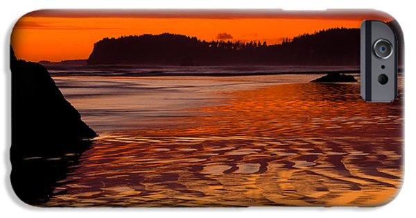 Reflective iPhone Cases - Ruby Beach Afterglow iPhone Case by Inge Johnsson