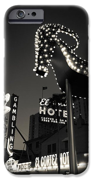 Imitation iPhone Cases - Ruby Slipper Neon Sign Lit Up At Dusk iPhone Case by Panoramic Images