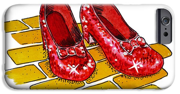 Kids Art iPhone Cases - Ruby Slippers The Wizard Of Oz  iPhone Case by Irina Sztukowski