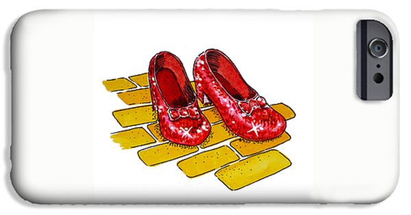 Brick Paintings iPhone Cases - Ruby Slippers The Wizard Of Oz  iPhone Case by Irina Sztukowski