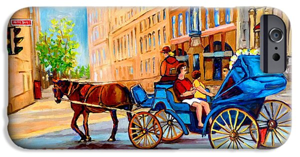 Horse And Buggy iPhone Cases - Rue Notre Dame Caleche Ride iPhone Case by Carole Spandau