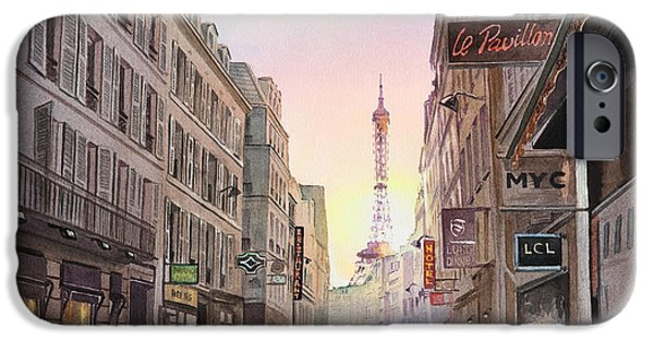 Mist Paintings iPhone Cases - Rue Saint Dominique Sunset Through Eiffel Tower   iPhone Case by Irina Sztukowski