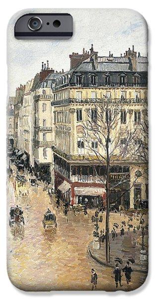 Pissarro iPhone Cases - Rue Saint Honore in the Afternoon. Effect of Rain iPhone Case by Camille Pissarro