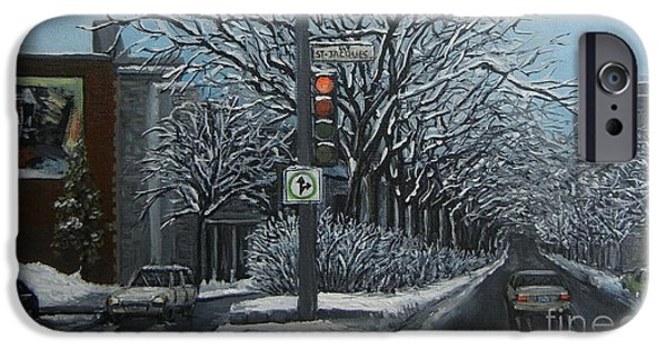Montreal Winter Scenes Paintings iPhone Cases - Rue St Jacques iPhone Case by Reb Frost
