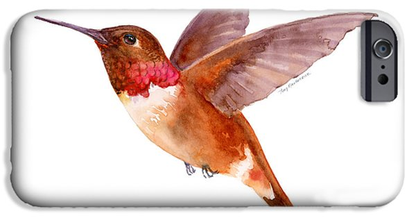 Rust iPhone Cases - Rufous Hummingbird iPhone Case by Amy Kirkpatrick