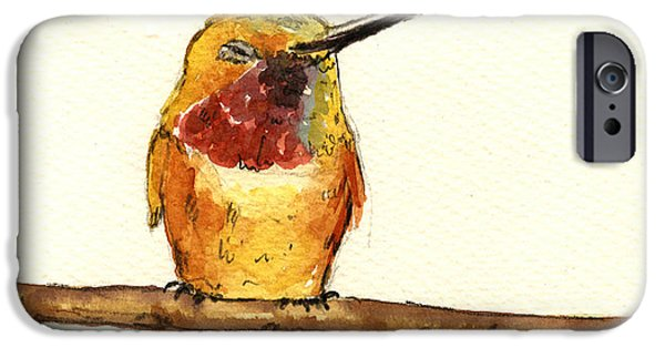 Original Watercolor iPhone Cases - Rufous hummingbird  iPhone Case by Juan  Bosco