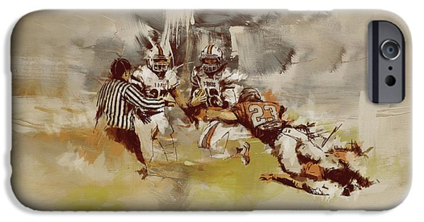 Canadian Culture Paintings iPhone Cases - Rugby iPhone Case by Corporate Art Task Force