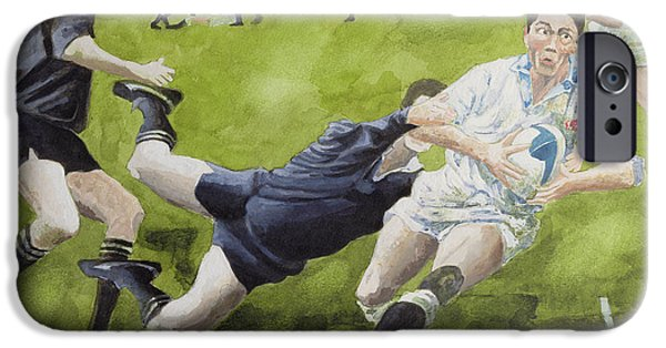 Jeremy iPhone Cases - Rugby Match England V New Zealand In The World Cup, 1991, Rory Underwood Being Tackled Wc iPhone Case by Gareth Lloyd Ball