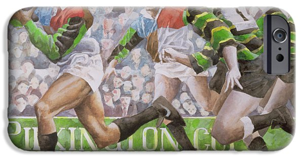Running iPhone Cases - Rugby Match Harlequins V Northampton, 1992 Wc iPhone Case by Gareth Lloyd Ball